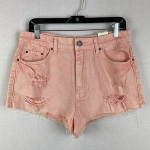 BDG High Rise Acid-wash Pink Denim Short NWT